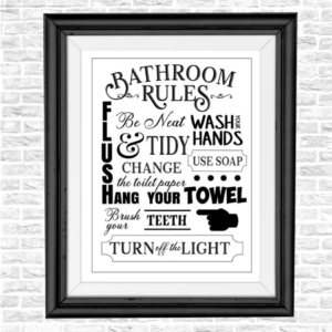 vintage bathroom rules sign